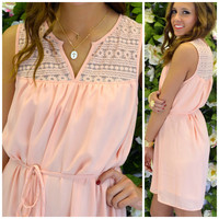 Sweet Peaches Crochet Shift Dress