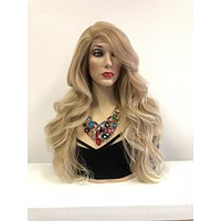 Blond Balayage Long Swiss lace front wig | Loose Curl Layered Hair| Denise 518