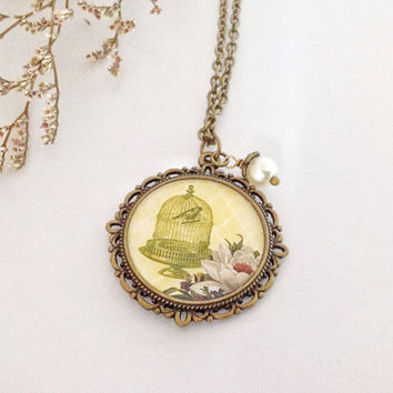 Shabby And Chic Pendant Necklace, A Gift for Her