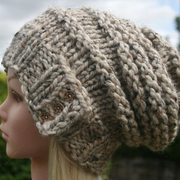 Hand Knit hat- Women's hat- Cream- Oatmeal tweed-slouchy- beanie- winter hat with 3 small coconut buttons- Rustic Mega Chunky with wool