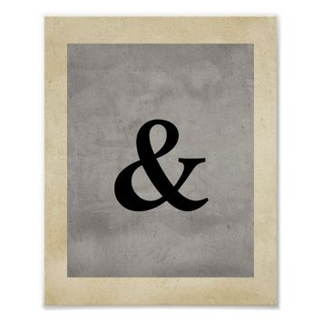 ampersand poster distressed gray shabby chic style