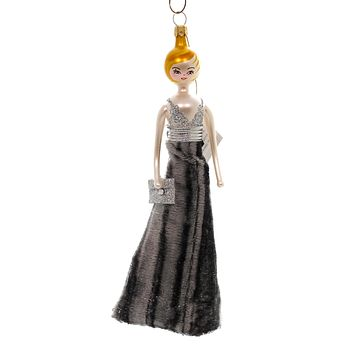 De Carlini LADY IN GRAY VELVET GALA DRESS Ornament Italian Formal Ball Do7611