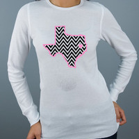 Chevron Texas with Heart at Your City, Long Sleeved Crew Neck Women's or Girls T-Shirt