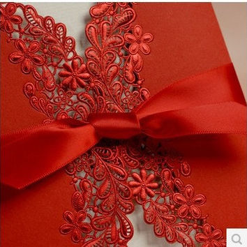 laser cut lace red Wedding invitation cards with ribbon bow, for birthday party invitation