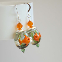Gold Fish Bowl Earrings, Whimsical Earrings, Pet Lovers, Orange Earrings, Lampwork Glass Earrings