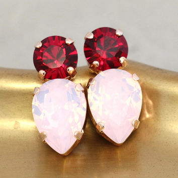 Pink Red Earrings,Pink Ruby Stud earrings,Swarovski Earrings,Gift for her,Christmas Earrings,Rose Ruby Earrings,Bridal Earrings,Pink Studs