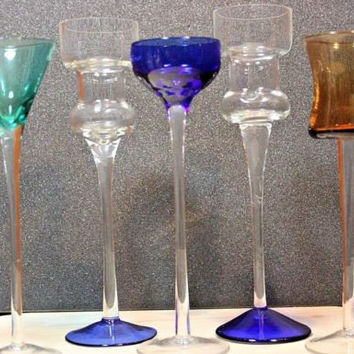 Vintage Aperitif Cordial Long Stem Shot Liquor Glasses Set of 5 blue green amber