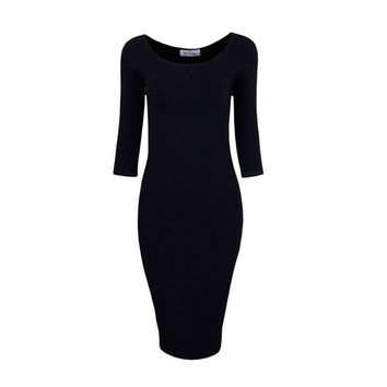 Sexy Casual black winered pink Crew Neck Three Quarter Midi Dress Work Style Women Bodycon Dresses SM6