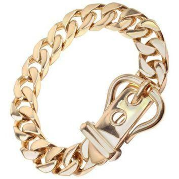 PEAPYD9 Hermes Large Buckle Gold Curb Link Chain Bracelet