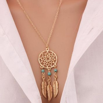 N719 Tassel Pendant Necklace Bijoux For Women Fashion Jewelry Dream Catcher Feather Turquiose Beads Collares