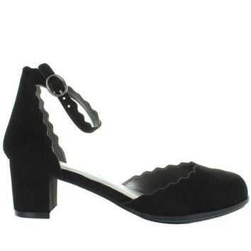 Mia Kids Amore   Girl's Black Nova Suede Scallop Edged Ankle Strap Pump