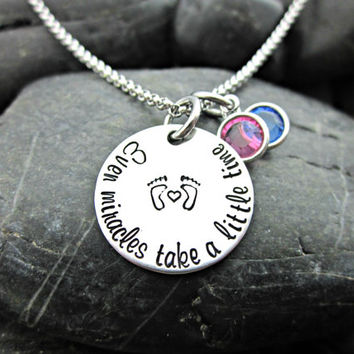 Even Miracles Take a Little Time - Infertility and Adoption Necklace - Waiting