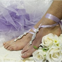 SJ3 ENCHANTED BRIDE lavender ribbon rhinestone Barefoot sandals, barefoot sandals, wedding shoes, anklets for women,barefoot sandal, footless sandles,beach wedding sandal, slave sandals,bridal barefoot sandals, wedding barefoot sandals,foot jewelry, pear