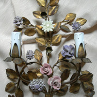 Pair of Antique Italian Gilded Tole Porcelain Flowers Wall Sconces w Pleated Silk Clip On Shield Shades