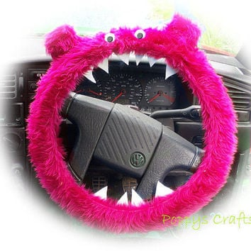 Monster Roar Hot Pink steering wheel cover faux fur fluffy furry fuzzy car truck van jeep cute googly eyes teeth dragon truck suv fun van