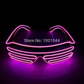2017 New hot EL Wire Fashion 10 colors LED Lighting flashing Shutter Shaped Glasses for Costume Dance Festival Party Decoration
