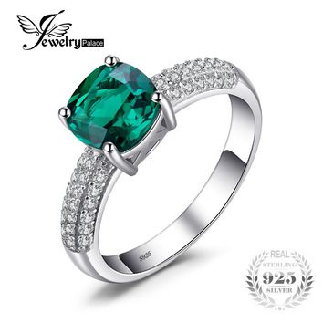 JewelryPalace 1.7 ct Cushion Cut Created Emerald Wedding Bands 925 Sterling Silver Engagement Rings For Women Brand Fine Jewelry