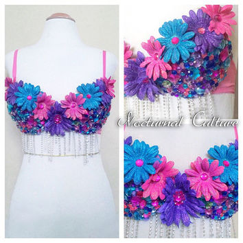 Pink/Blue/Purple Daisy Rave Bra