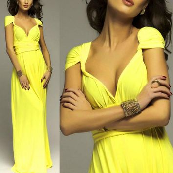 2016 Summer Sexy Women Yellow Infinity Maxi Wrap dress  Long Dress Sexy Multiway Bridesmaids Convertible Dress robe longue femme
