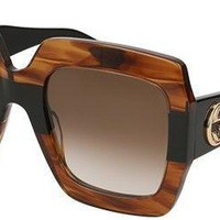 New Gucci GG0178S striped brown/brown shaded (004 BC) Sunglasses