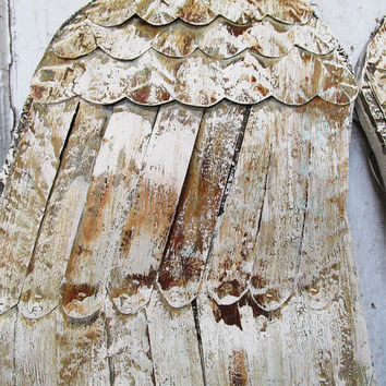 Off white Angel Wings, wood and metal wings, angel wing wall decor, painted angel wings, angel wings wall hanging anita spero design