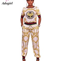 Adogirl England Style Fashion Plus Sizes XXXL Women Two Pieces Full Length Pant Sets Half Sleeves Pullover Tops Long Pants Sets