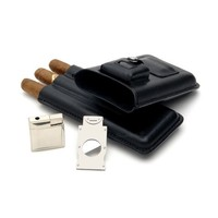 Leather Cigar Holder w/ Stainless Steel Cutter & Lighter