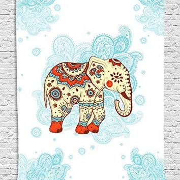 Elephant Decor Ethnic Hennah Tapestry Wall Hanging - 40 X 60 Inches - Living Room / Bedroom / Dorm Decor - One of a Kind - Machine Washable - Blue White Red Ivory