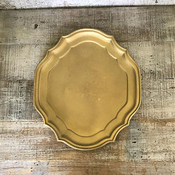 Brass Tray Large Serving Tray Extra Large Brass Tray Hollywood Regency Tray Gold Serving Tray Cocktail Tray Cottage Chic Centerpiece Base