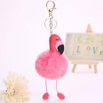 FLUFFY FLAMINGO BIRD KEYCHAIN CUTE FUR BALL KEY RING WOMEN ANIMAL POMPOM