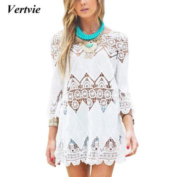 2018 White Beach dress Lace Beach Tunic Long Sleeve Swim Dress Tunic Mesh Cover Up Bikini Swimsuit Sundresses Ladies Swim Skirt