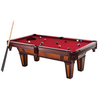 7 -Ft Pool Table with Red Burgundy Wool Top & Fringe Drop Pockets