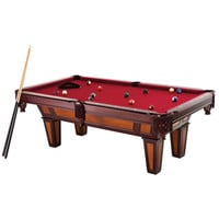 7 ft. Pool Table with Red Burgundy Wool Top & Fringe Drop Pockets