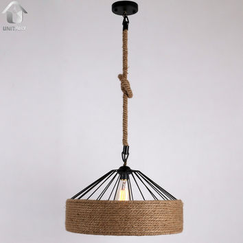 Rustic Braided Hemp Rope Hanging Ceiling Pendant with 1 Light