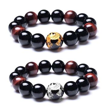 "7.5"" Men's 12mm Tiger Eye Agate Bead Bracelet Dragon Design Stretch Bangle Wrist"