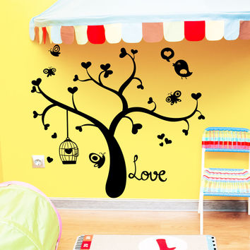 Wall Decal Tree Silhouette Hearts Bird Decals Natural for Nursery Baby Room Living Children's Playroom Bedroom Vinyl Sticker Home Decor 3819