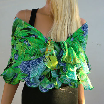 Rainforest chiffon ruffle wrap/shrug/scarf- Textilemonster exclusive Introducing Cache-Coeur Rich and Sophisticated,