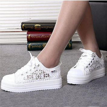 Summer Women Shoes Casual Cutouts Lace Canvas Shoes Hollow Floral Breathable Platform