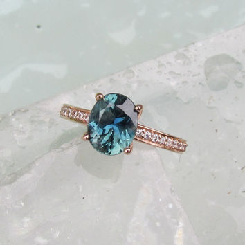 Blue Green Sapphire 14k Rose Gold Engagement Ring or Wedding Anniversary Ring September Birthstone Gemstone