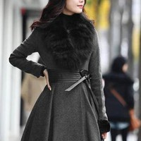 gray coat fur collar winter fashion final sale g939 from YRB