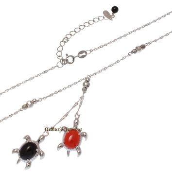 GENUINE RED BLACK CORAL HAWAIIAN SEA TURTLE LARIAT NECKLACE 925 SILVER 18""