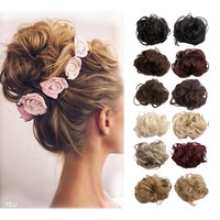 1PC 35g Curl Synthetic Hair Bun Plaited Wrap Elastic Hair Scrunchie For Women Natural Fake Hair Bun False Hair Q5