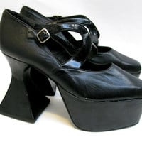 Luichiny Platform Shoes From Spain Womens Pre-Owned Black Leather Fabulama Club Kid Stack Plats Wms US Size 8