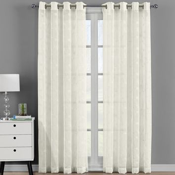 Beige Brook Embroidered Grommet Top Sheer Panel Curtain Set - Pair (Two Panels )