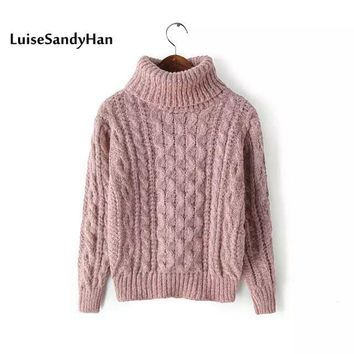 Women's Turtleneck Pullover 2017 Autumn Sweaters Women Casual Knitted O-Neck Striped Femme Women Sweaters