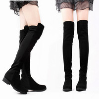 Women's Block Low Heel Over Knee Shoes Long High Boots Black Solid Patchwork 1og