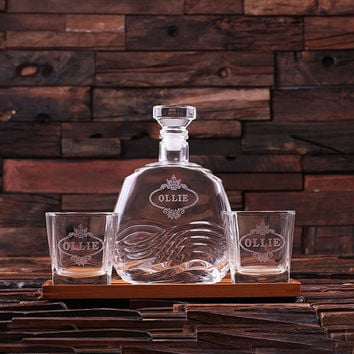Personalized Bar Tray Set with Decanter and 2 Whiskey Glasses