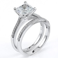 Ring Obsession's Sterling Silver Rhodium Plated And Princess Cut CZ Wedding Set