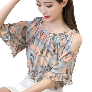 Women Summer Blouse Chiffon Shirt 2018 New Fashion Print Butterfly Half Sleeve Off Shoulder Shirts Women's Female Clothing Tops