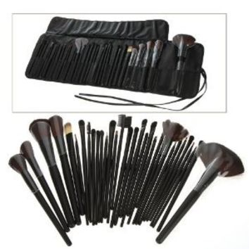 Generic 32 PCS Makeup Brush Set Black Carry Pouch